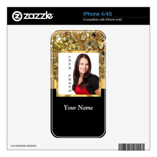 gold bling photo template decals for iPhone 4
