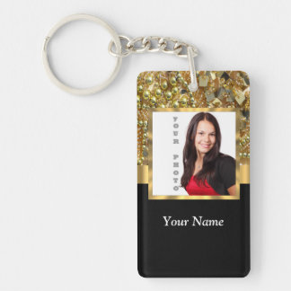 gold bling photo template keychain