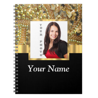 gold bling photo template note book