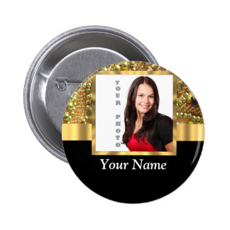 gold bling photo template pinback button