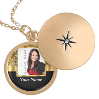 gold bling photo template round locket necklace