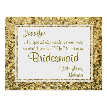 GlitterInvitations Gold Bling | Will You Be My Bridesmaid? Postcard