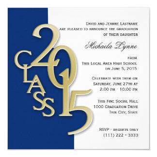 Gold Blue 2015 Photo Graduation Invitation