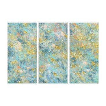 Beach Themed Gold Blue Abstract Canvas Print