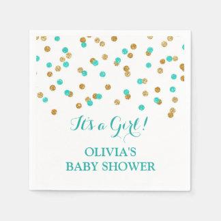 gold blue aqua turquoise confetti baby shower napkin