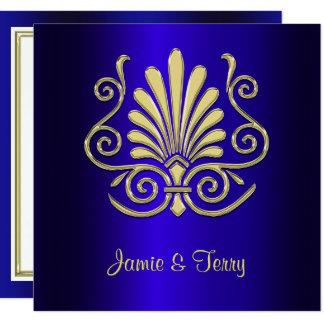 Gold Blue Art Deco Damask Wedding Invite 2