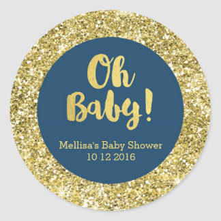 Gold Blue Baby Shower Oh Baby Favor Sticker