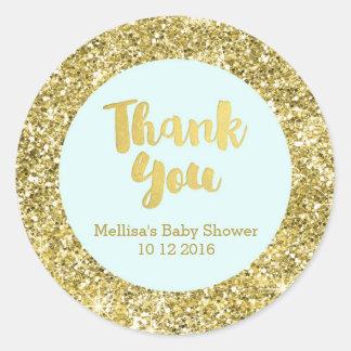 Gold Blue Baby Shower Thank You Favor Sticker