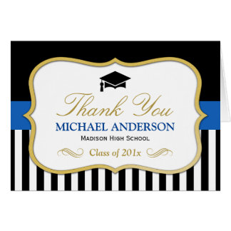 Gold Blue Black White Stripes Graduation Thank You Card