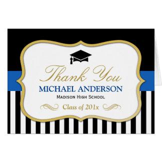 Gold Blue Black White Stripes Graduation Thank You Card