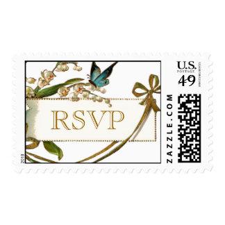 Gold Blue Butterfly Vintage RSVP Wedding Postage