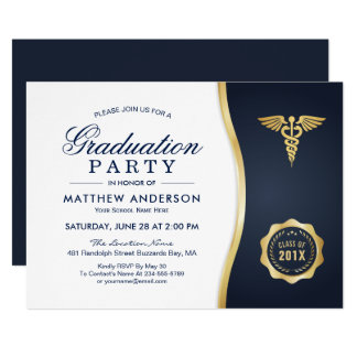 Gold Blue Caduceus Medical School Graduation Party Card