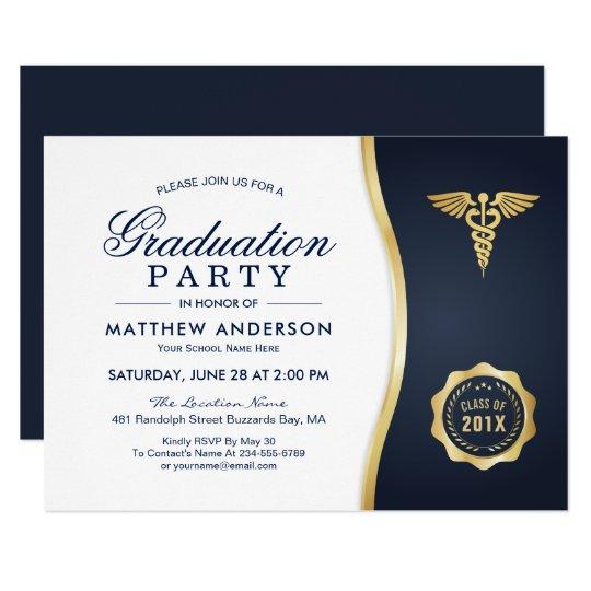 Gold blue caduceus medical school graduation party card zazzle gold blue caduceus medical school graduation party card filmwisefo Image collections