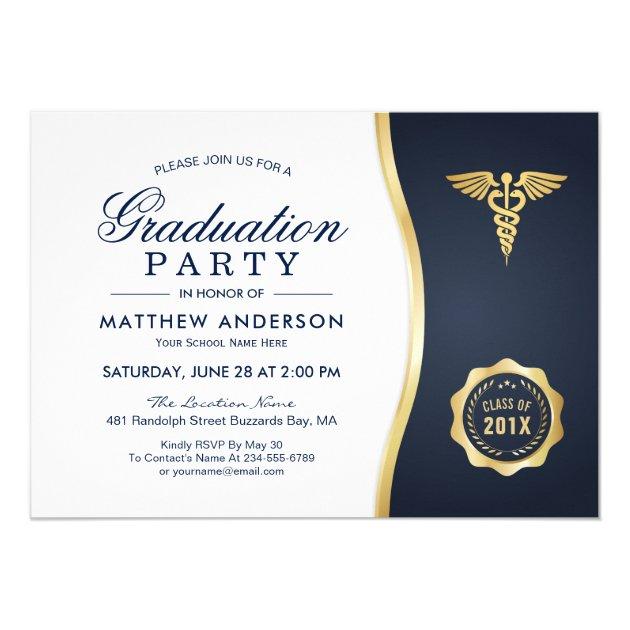 Gold Blue Caduceus Medical School Graduation Party Card (back side)