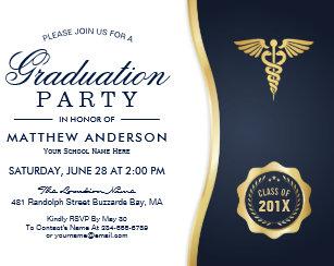 Medical school graduation invitations announcements zazzle gold blue caduceus medical school graduation party invitation filmwisefo