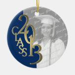 Gold Blue Class 2013 Graduation Photo Christmas Ornaments