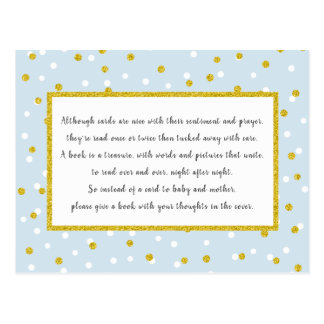 Gold Blue Confetti Books for Baby + custom color! Postcard