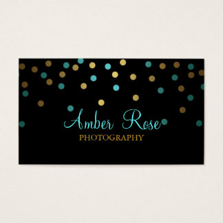 Gold & Blue Confetti Business Card