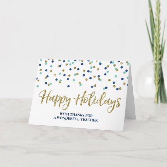 Gold Blue Confetti Teacher Christmas Card