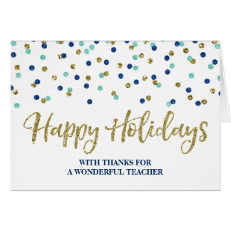 Gold Blue Confetti Teacher Christmas Card