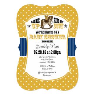 Gold Blue Cowboy Baby Shower Invitation