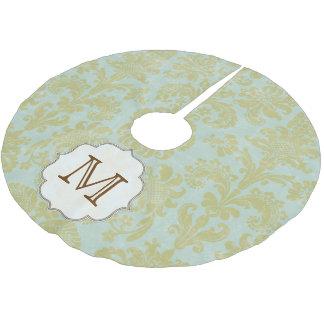 Gold Blue Damask Lace Monogram Initial Tree Skirt