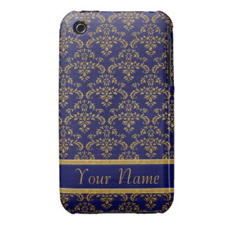 Gold Blue Damask Pattern iPhone 3 Case-Mate Cases
