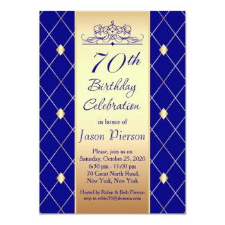 Gold blue diamond pattern 70th Birthday Party Card