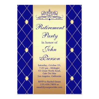 Gold blue diamond pattern Retirement Party Invite