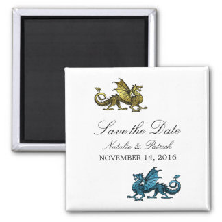 Gold Blue Dragon Save the Date Magnet