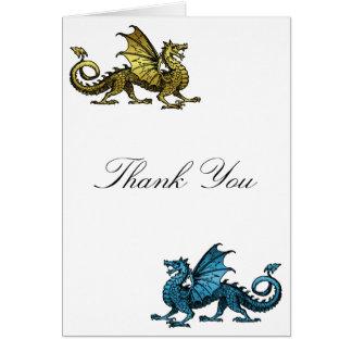 Gold Blue Dragon Thank You Card