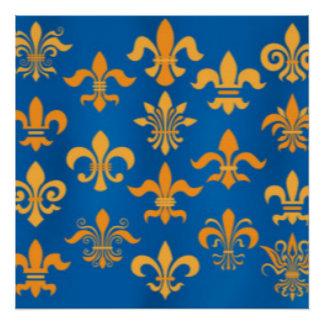 Gold Blue Fleur De Lis Pattern Print Design Poster