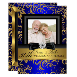 Gold Blue Floral Photo 50th Wedding Anniversary Invitation