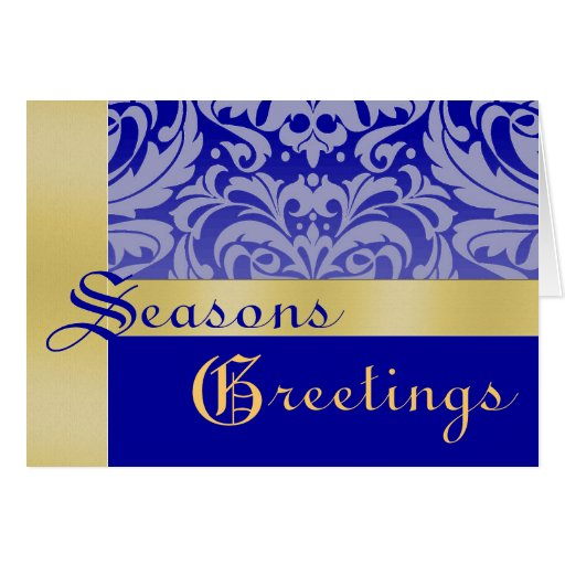Gold & Blue Frosted Damask Christmas Holiday Card