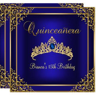 Gold & Blue Gem Tiara Quinceanera Invitation