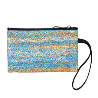 Gold Blue Glitter Abstract Coin Purse