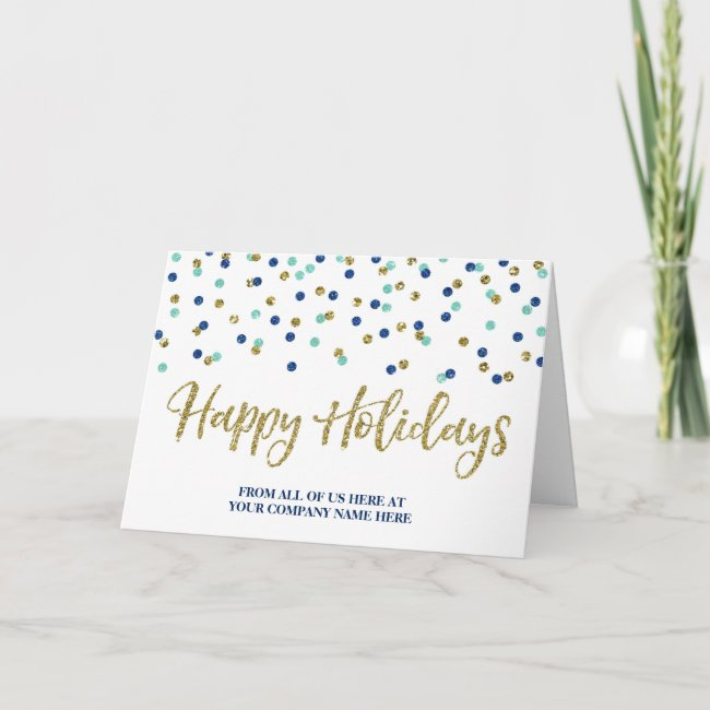 Gold Blue Glitter Confetti Corporate Christmas Holiday Card