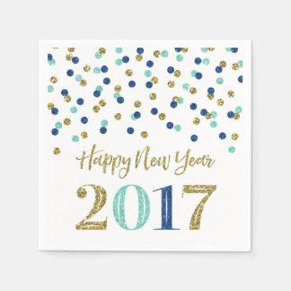 Gold Blue Glitter Confetti Happy New Year 2017 Paper Napkin