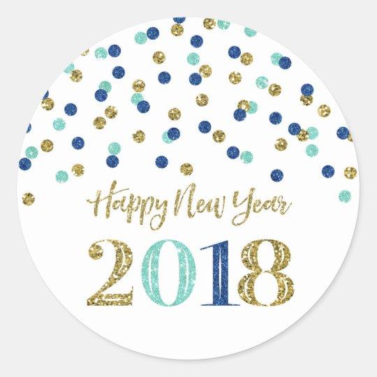 Gold blue glitter confetti happy new year 2018 classic round sticker