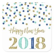 Gold Blue Glitter Confetti Happy New Year 2018 Square Sticker