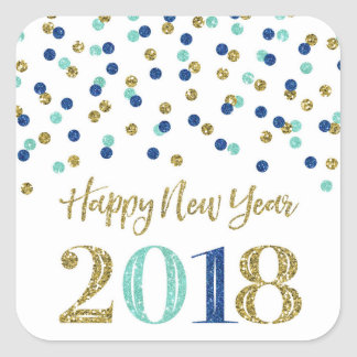 Gold Blue Glitter Confetti Happy New Year 2018 Square Sticker