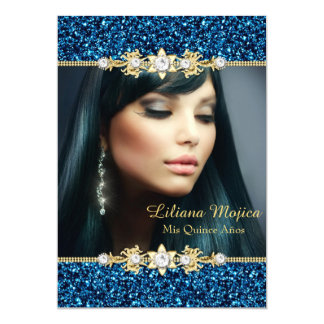 Gold Blue Glitter & Jewel Bow Quinceanera Card