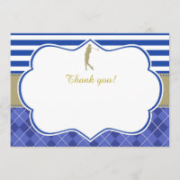 Gold Blue Golf Thank You Card Blank