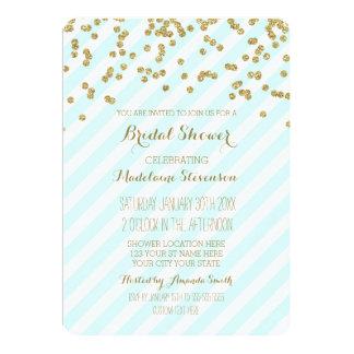 Gold Blue Green Stripes Bridal Shower Invitations