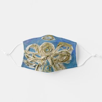 Gold Blue Guardian Angel Art Custom Face Masks