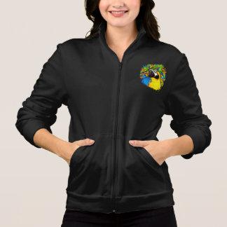 Gold &  Blue Macaw Fantasy Women Fleece Zip Jogger Jacket