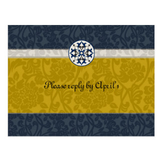 Gold & Blue Medieval Brocade rsvp Postcard