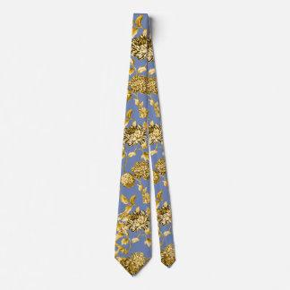 Gold & Blue Modern Botanical Floral Toile Tie