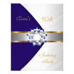 Gold Blue Navy White Invite 50th Birthday Party Custom Announcements