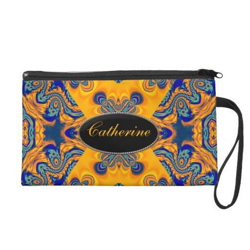 Gold Blue Neon Batik Wristlet Bags